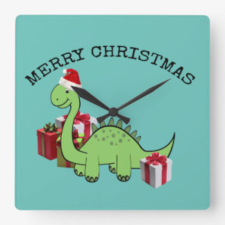 Dinosaurio divertido lindo de Santa del navidad Reloj Cuadrado