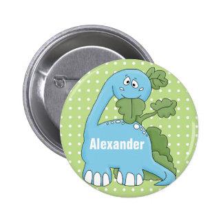 Dinosaurio en botón del nombre del azul feliz