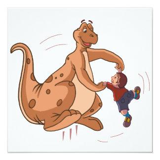 Dinosaurio juguetón + Arte del niño de Sushobhan Invitación 13,3 Cm X 13,3cm