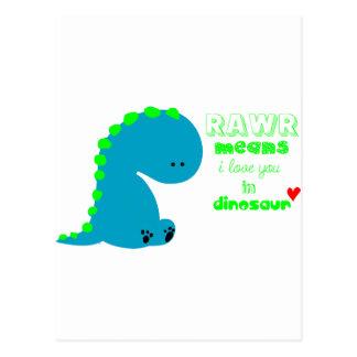 Dinosaurio lindo RAWR Postal