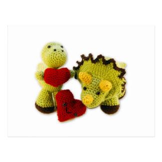 Dinosaurio +  Postal de los corazones