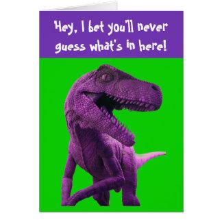 Dinosaurio púrpura tarjeta de felicitación