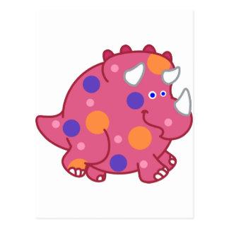 Dinosaurio rechoncho del dibujo animado del postal