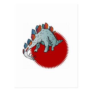 Dinosaurio rojo tarjeta postal