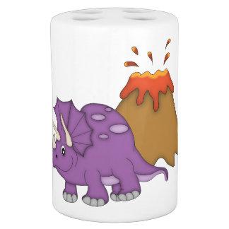 Dinosaurio/Triceratops púrpuras+Volcán Conjunto De Baño