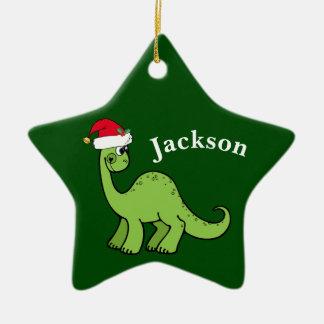 Dinosaurio verde de los niños del navidad adorno de cerámica