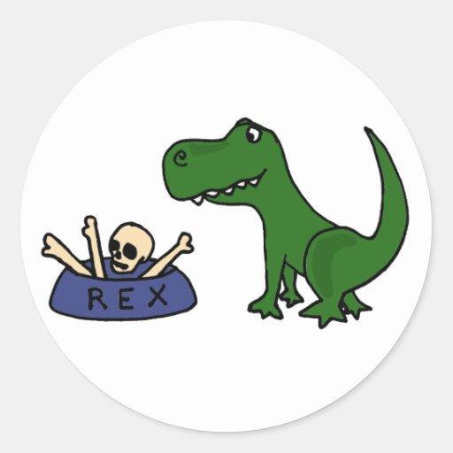 Dinosaurio y cráneo divertidos XY de T-Rex en Etiqueta Redonda
