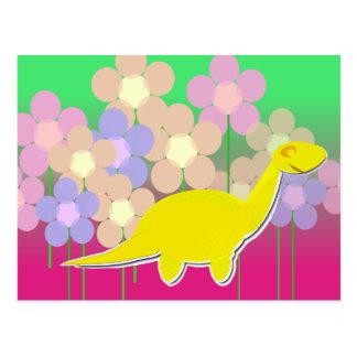 Dinosaurio y postal lindos de las flores