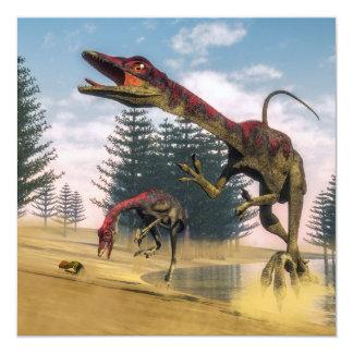 Dinosaurios de Compsognathus - 3D rinden Invitación 13,3 Cm X 13,3cm