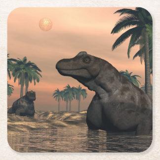 Dinosaurios de Keratocephalus - 3D rinden Posavasos Cuadrado De Papel