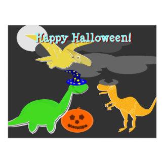 Dinosaurios de la postal del feliz Halloween