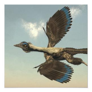 Dinosaurios de los pájaros del Archaeopteryx que Invitación 13,3 Cm X 13,3cm
