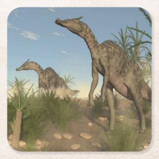 Dinosaurios de Saurolophus - 3D rinden Posavasos Cuadrado De Papel