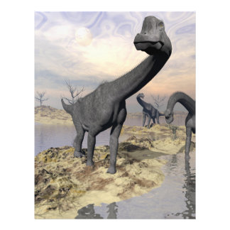 Dinosaurios del Brachiosaurus cerca del agua - 3D Flyer