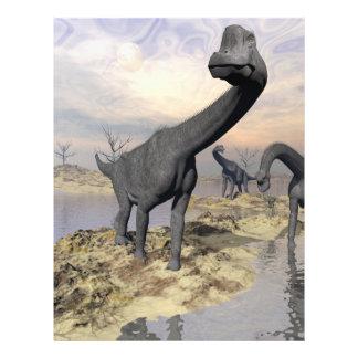 Dinosaurios del Brachiosaurus cerca del agua - 3D Folleto 21,6 X 28 Cm