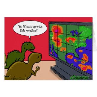 Dinosaurios del cambio de clima tarjeta de felicitación
