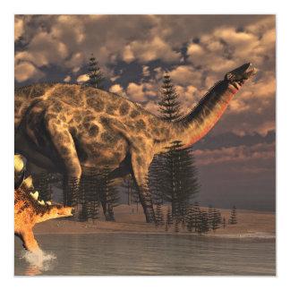 Dinosaurios del Dicraeosaurus y del kentrosaurus - Invitación 13,3 Cm X 13,3cm