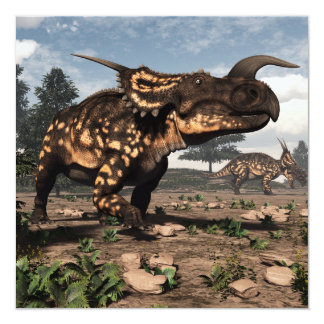 Dinosaurios del Einiosaurus en el desierto - 3D Invitación 13,3 Cm X 13,3cm
