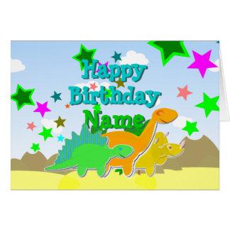Dinosaurios del feliz cumpleaños su tarjeta de