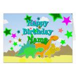 Dinosaurios del feliz cumpleaños su tarjeta de pre
