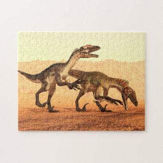 Dinosaurios del rapaz en el desierto puzzle