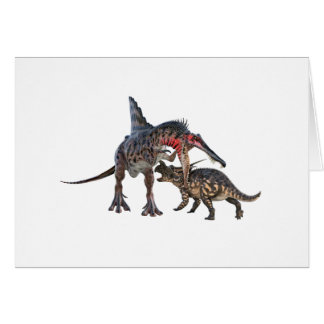 Dinosaurios en duelo tarjeta de felicitación