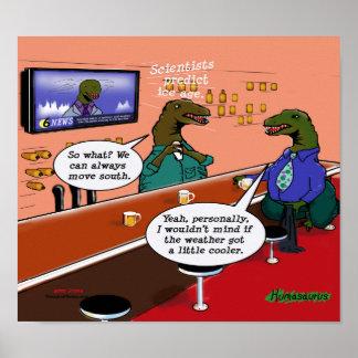 Dinosaurios en un dibujo animado de la barra póster