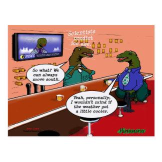 Dinosaurios en una barra postales