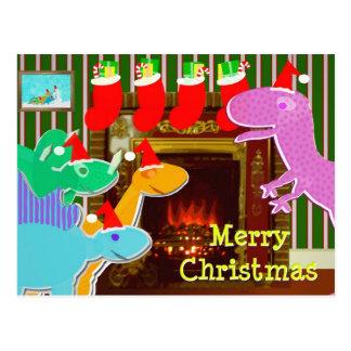 Dinosaurios lindos por la postal del navidad de la