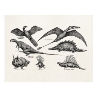Dinosaurios retros del ejemplo del dinosaurio del postal