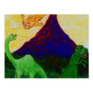 Dinosaurios sorprendidos postal