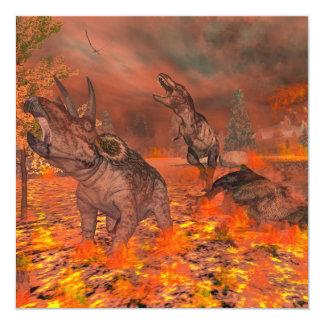 Dinosaurios, tyrannosaurus y triceratops, exctinct invitación 13,3 cm x 13,3cm