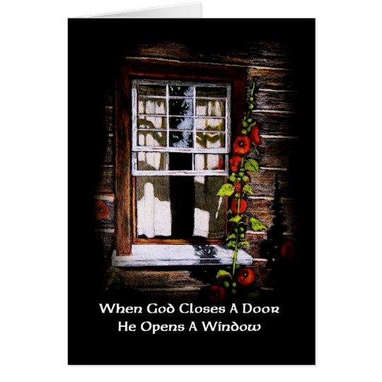 Dios abre una ventana: Ventana de cabina rústica: Tarjeta De Felicitación