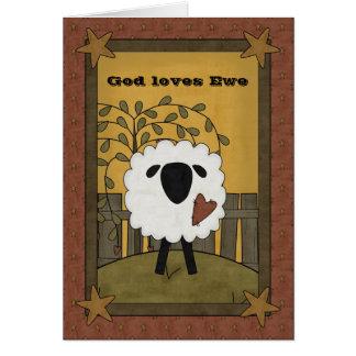 Dios ama ovejas de la oveja felicitación