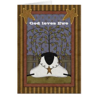 Dios ama ovejas de la oveja tarjeta de felicitación