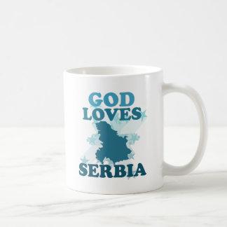 Dios ama Serbia Taza De Café