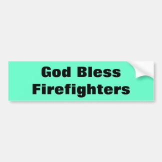 Dios bendice a bomberos pegatina para coche