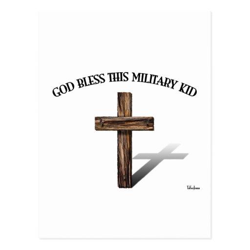 DIOS BENDICE A ESTE NIÑO MILITAR con la cruz rugos Postales