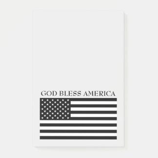 Dios bendice notas de la bandera de América