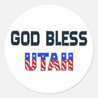 Dios bendice Utah Pegatina Redonda