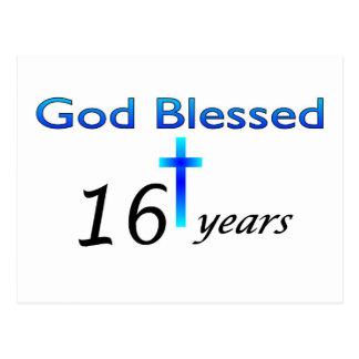 Dios bendijo 16 años de regalo de cumpleaños postal