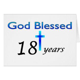 Dios bendijo 18 años de regalo de cumpleaños tarjeta de felicitación