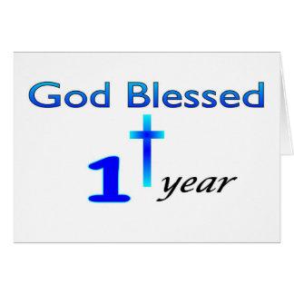 Dios bendijo el regalo de cumpleaños de 1 año tarjetón
