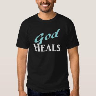 Dios cura blanco de la turquesa camiseta