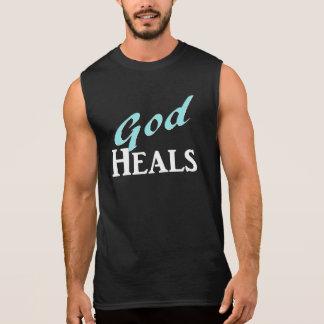 Dios cura el texto del blanco de la turquesa camisetas sin mangas