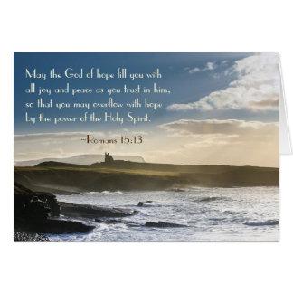 Dios de la esperanza, verso de la biblia del 15:13 tarjeta de felicitación
