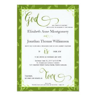 Dios de las hojas del verde es invitación de boda