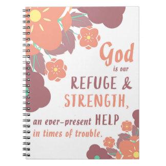 Dios del 46:1 del salmo es nuestro refugio y cuaderno