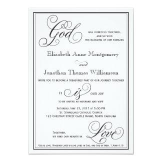 Tarjeta Dios es invitación cristiana del boda de la