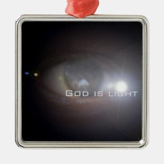 Dios es luz adorno navideño cuadrado de metal